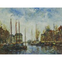 """R. Brown (20th Century), BOATS IN A HARBOUR, Oil on canvas; signed """"R. Brown"""" lower right, 12 ins x"""
