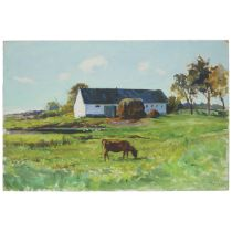 Grand Duchess Olga Alexandrovna (1882-1960), COW GRAZING IN PASTURE, 1944, Oil on masonite (with the