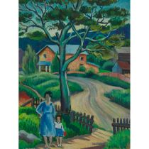 """Abe Goldberg (Active 1941-1950), FARM WITH MOTHER AND CHILD, 1941, Oil on masonite; signed """"A. Goldb"""