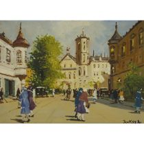 Antal Berkes (1874-1938), TOWN SCENE, BUDAPEST, Oil on board; signed lower right, 10 ins x 14 ins; 2