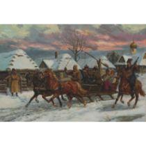 Leszek Piasecki (1928-1990), MUSICIANS IN A SLEIGH RACING THROUGH A SNOWY VILLAGE, Oil on canvas; si