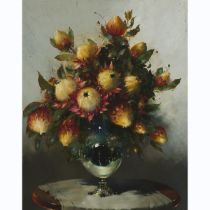 Hennie Griesel (1931-2015), PROTEA FLOWERS IN A VASE, 1980, Oil on canvas board; signed and dated /8