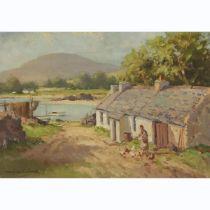 "Maurice Canning Wilks (1911-1984), ""FISHERMAN'S COTTAGE"" CUSHENDUN CO. ANTRIM, Oil on Winsor & Newto"