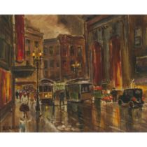 ***Lorain (20th Century), PEDESTRIANS AND STREET CARS, EVENING ON A DOWNTOWN STREET, SAN FRANCISCO,