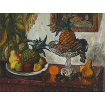 Leonty Alekseevich Arapov (1937-2001), PINEAPPLES AND ORANGES, 1992, Oil on canvas; signed with init