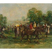Lorie Renard? (20th Century), JOCKEYS MEET BEFORE RACE, Oil on canvas; indistinctly signed lower rig