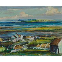 """Kenneth Webb (B.1927), TORY ISLAND OFF N.W. COAST OF DONEGAL, 1960, Oil on canvas; signed """"Kenneth W"""
