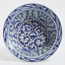 A Large Blue and White 'Lotus' Basin, 19th Century, 十九世纪 青花莲纹大盆, diameter 14.6 in — 37.2 cm