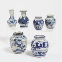 A Group of Six Ming-Style Blue and White Jarlets and Vases, 明式 青花小瓶罐一组六件, tallest height 3.3 in — 8.