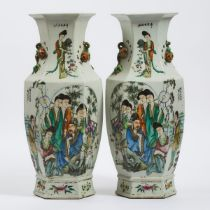 A Pair of Large Famille Rose Hexagonal Vases, Republican Period, 民国时期 粉彩人物牡丹诗文大瓶一对, height 22.4 in —