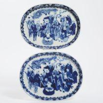 A Pair of Blue and White 'Eighteen Luohan' Dishes, Late Qing/Republican Period, 晚清/民国时期 青花十八罗汉图盘一对,