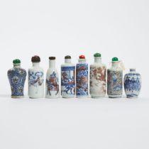 A Group of Eight Underglaze-Blue and Copper-Red Snuff Bottles, 19th Century, 清 十九世纪 青花及青花釉里红鼻烟壶一组八件,
