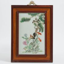 A Famille Rose Porcelain Plaque of a Rooster and a Hawk, Early to Mid 20th Century, 民国晚期 粉彩松鹰雄鸡图瓷板,