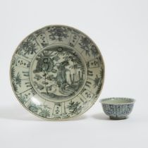 A Chinese Export Blue and White 'Phoenix' Charger, Together With a Bowl, 17th/18th Century, 十七/十八世纪