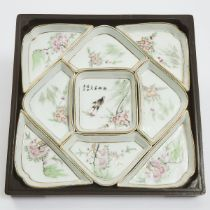 A Set of Nine Famille Rose 'Floral' Sweetmeat Dishes, Together With a Box and Glass Cover, Republica