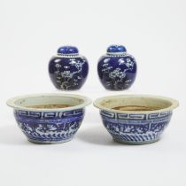A Pair of Blue and White 'Prunus' Lidded Jars, Together With a Pair of Planters, 19th/Early 20th Cen