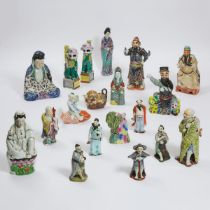 A Group of Nineteen Chinese Famille Rose Porcelain Figures, Republican Period and Later, 民国时期及建国后 粉彩