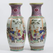 A Pair of Large Chinese Famille Rose 'Figural' Vases, Mid-20th Century, 建国初期 粉彩'富贵满门'人物诗文大瓶一对, heigh