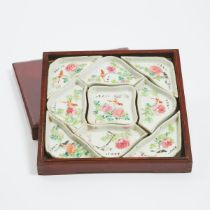 A Set of Nine Famille Rose 'Birds and Flowers' Sweetmeat Dishes, Together With a Box and Cover, Repu