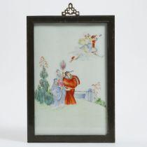 A Famille Rose Porcelain Plaque of Fu Lu Shou, Republican Period, 民国时期 粉彩'福禄寿'三星瓷板, including frame