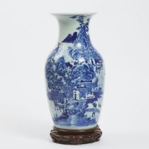 A Blue and White 'Landscape' Vase, Early 20th Century, 民国时期 青花山水人物图瓶, height 16.9 in — 43 cm