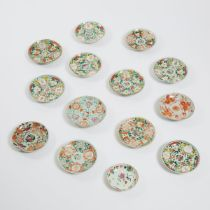 A Group of Fourteen Famille Rose Dishes, Late Qing/Republican Period, 晚清/民国时期 粉彩及矾红小盘一组十四件, largest