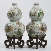 A Pair of Famille Rose Double-Gourd Vases, Mid 20th Century, 建国初期 粉彩刀马人物故事葫芦瓶一对, height 18.9 in — 48