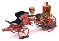 A rare Marklin 4-wheel horse drawn spirit fired fire engine c.1902. Of cast iron and tinplate