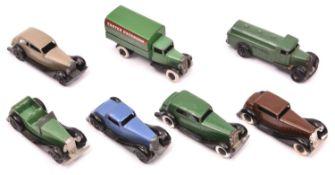 7 Dinky Toys. Daimler 30c in dark green with black smooth wheels. Rolls Royce 30b in fawn. British