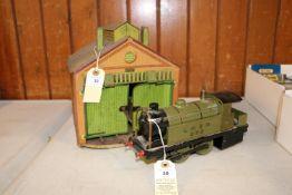 A Bowman O gauge live steam spirit fired 0-4-0T locomotive. LNER, 265, in olive green livery. Plus