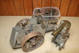 2x live steam traction engine bodies. The remains of traction engines in different scales. The