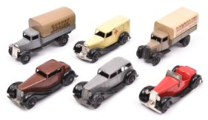 6 Dinky Toys. 3x 36 series cars- Armstrong Siddeley 36a in grey. Humber Vogue 36c in dark brown.