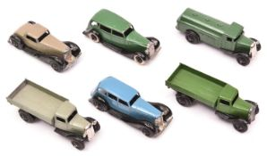 6 Dinky Toys. A Vauxhall 30d in green. 2x 36 series cars- Bentley 36b in grey and an Armstrong