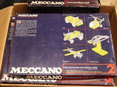5x 1970s Meccano sets. Set 2, Set 3, Set 4 Senior Metal Construction Set, Set 5 Advanced Metal