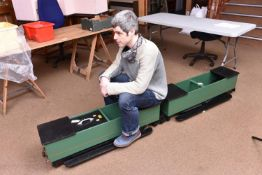 A 3.5 inch gauge 3-section train for ground level running. Well constructed wooden bodies and