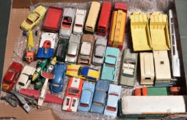 38x Dinky Toys, many for restoration. Including; Renault Dauphine mini-cab, Porsche 356A, Vanwall