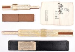 """A """"Unique"""" Universal wooden slide rule, 11½"""", with plastic covered scales, the underside with"""