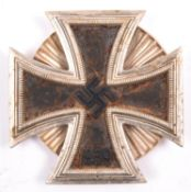 A 1939 Iron Cross 1st Class, with screw in fluted disc fitting. GC (probably post war, some rust