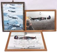 """2 mirror prints of a Spitfire and Hurricane, with facsimile signatures of WWII pilots, 19"""" x 13"""", in"""