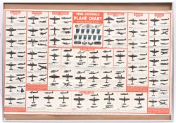 """A large WWII aircraft recognition poster, pub by the News Chronicle, 39"""" x 24"""", in a modern glazed"""
