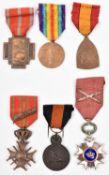 Belgian medals (6): Order of the Crown with swords, Croix de Guerre 1914-1918, Yser medal, Croix