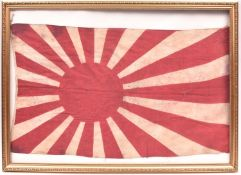 """A WWII Japanese rising sun linen flag, 33"""" x 19"""", basically GC (small spots of stain overall), in"""
