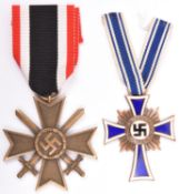 A Third Reich War Merit Cross 2nd class with swords, and a Mother's Cross, 2nd type, in bronze.