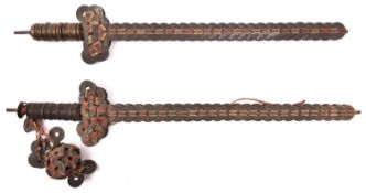 """2 Chinese coin swords, 19"""" overall, each composed of over 150 brass coins, one with additional """""""