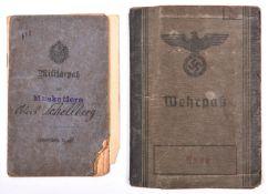 A Third Reich Wehrpass, to Alois Schellberg, a WWI veteran conscripted into the Landwehr in 1943;