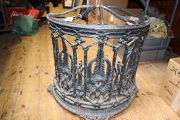 A substantial Victorian 19th Century Coalbrookdale cast iron umbrella stand. Decorative half-
