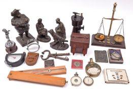 12+ various items including early 20th Century gauges, etc. Pocket Voltmeter. Gas Pressure gauge.