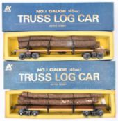 2x Aster Hobby Gauge One railway (45mm) Amercian outline Truss Log Cars. Well detailed bogie log
