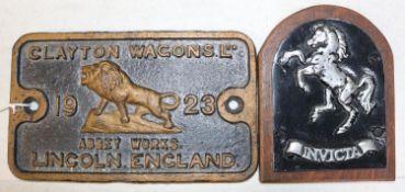 A Clayton Wagon Plate. Cast iron plate; 'Clayton Wagons Ltd. 1923, Abbey Works, Lincoln England'.