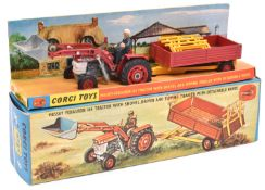 Corgi Toys Gift Set 9. Massey Ferguson 165 Tractor With Shovel, Driver & Tipping Trailer with
